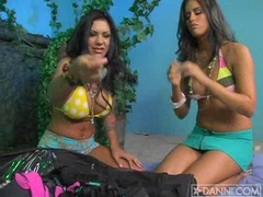 lesbian hottie Mason Moore getting nasty with her girlfriend in sexy two piece