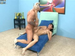 Cum craver Angelina Stoli fucks her way to a mouth load of jizz