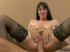 Sexy hot pornstar Rayveness slamming her juicy snatch on a thick cock