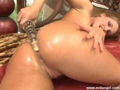 Beautiful blonde Lauren Phoenix drilling her ass deeper and enjoys it a lot