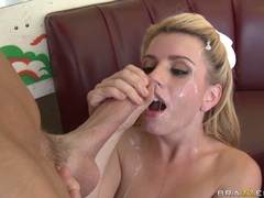 Submissive babe Lexi Belle receives a glaze of cock sauce on her sweet face