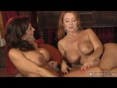 Hot blondie Janet Mason starts to get nasty hot with a busty brunette whore