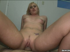Sexy nasty babe Megan Moore slamming her pink shaved snatch on a thick cock