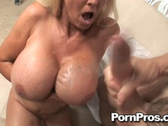 Filthy blonde Tia Gunn gets thoe gigantic bazoombas jizzed and loves it