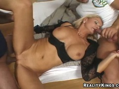 Wet and horny Winnie getting her pussy and mouth fucked at the same time