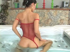 Sexy nympho Angel Dark couldn't resist playing hot with her soaking wet snatch