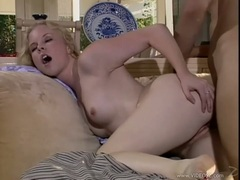 Amber Rain gets a huge cock doggy style fucking making her juice flow
