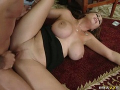 Busty babe Katie Kox receives a hot load of cum after a nice hard fuck
