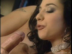 Hot babe Lara Stevens gets her mouth fucked deep and ass filled with meat pole