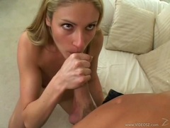 Blonde bitch Samantha Sterlyng enjoys a thick cock exploring in her warm mouth