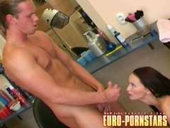 Cum loving honey Claudia Adams receives a hot load of jizz on her juicy mouth