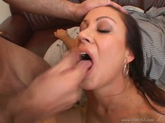 Cum lover Vanessa Videl enjoys getting sprayed on her mouth after a wild fuck