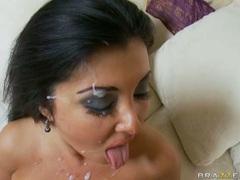 Busty whore Jaylene Rio receives a hot load of jizz on her meaty huge bazoombas