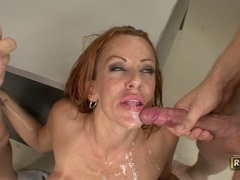 Juicy hot teacher Shannon Kelly gets double cummed on her face after a hot fuck