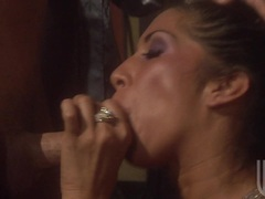 Filthy porn babe Mikayla deliciously glides a meaty cock in her juicy mouth