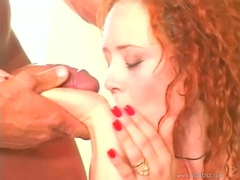 Hottie Audrey Hollander swaps some cum on Jasmine's mouth and loves it