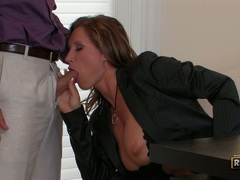 Sexy hot milf Devon Lee stuffs her sweet mouth with an awesomely stiff cock