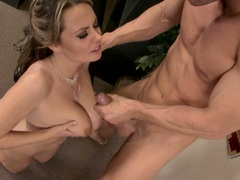 Big tittied Alexis May gets her massive boobs sprayed with creamy cum