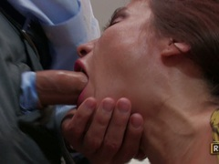 Hot rockin momma Sheila Marie whacks her juicy mouth with a throbbing cock