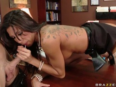 Tattooed bitch Kayla Carrera slides her lover's dick in and out her steamy mouth
