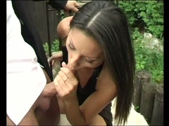 Outdoor lover Vanessa Smokes takes a massive cock in her mouth like a lollipop