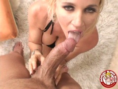 Lusty looking blondie Totally Tabitha gets her mouth jizzed after a hot blow