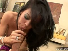Dirty whore Tabitha Stevens sucks off a massive hard cock rod