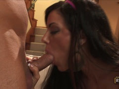 Lusty wife Victoria Valentino stuffs her steamy warm mouth with a throbbing cock
