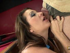 Hot momma Raquel Devine eagerly takes a hard cock and adores it in her mouth