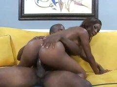Ebony teen Heidi Waters slamming her juicy gash on a meaty black cock