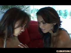 Filthy Katsumi playing with her asian twat on the couch with a lesbian friend