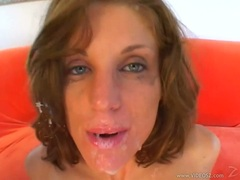 Jackie Moore gets double cock rammed down her tight throat as she sucks them dry