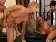Sleazy sluts Brooke Brand and Jessica Moore get a facial sperm squirt