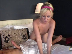 sugary sweet Alexia Sky deliciously stuffs a massive bald cock in her warm mouth