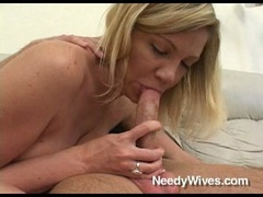 Lovely wife Christina Skye feeds her mouth with a throbbing cock and likes it