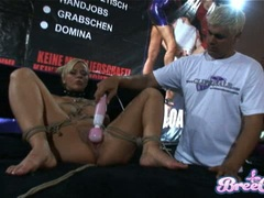 Blonde bondage bitch Bree Olsen gets tied up and her twat toyed