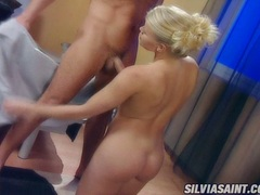 Horny blonde Sylvia Saint blowing a lucky man's hardon wild until it explodes