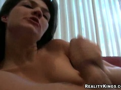 Horny wife Tiffany Meadows tugs on meaty cock making it cum