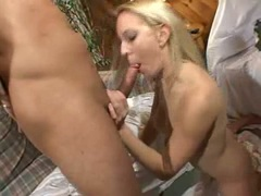 Sexy blonde Erin Moore uses sexy mouth milking mighty cock of all its goo