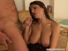 Pornstar Kate Jones eagerly opens her mouth for a hot load of cock explosion