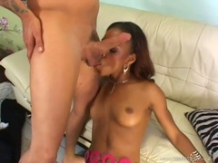 Ebony hottie Marie Luv filthly takes her lover's cock in her slippery mouth