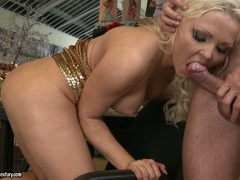 Cock lover Nicky Angel blowing her lover's cock until it cums in her mouth