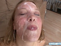 Cum loving babe Sierra Skye enjoys getting her face covered with cock batter