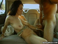 Horny Rayveness gets a hot spray of cock juicy after a rockin fuck in the car