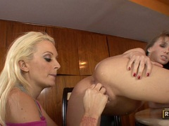 Blonde chick Allie Haze wildly thumps her fingers in and out a steamy twat