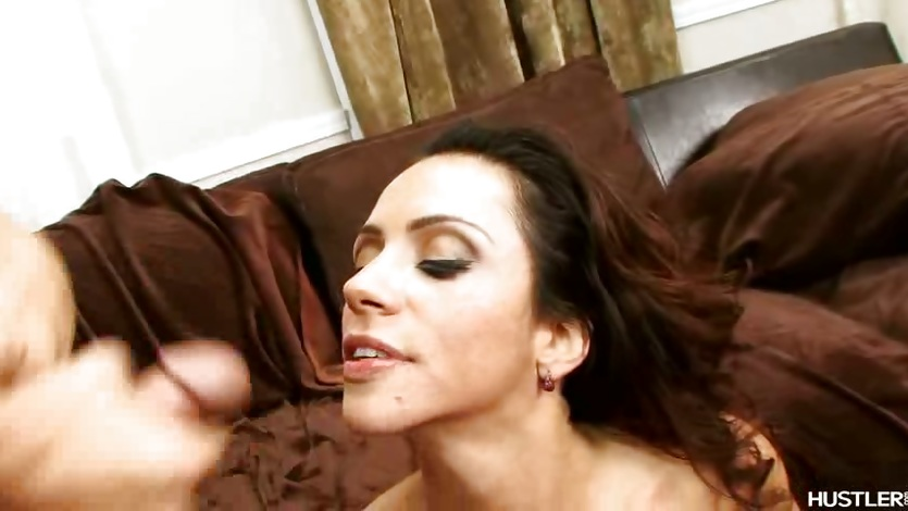Horny brunette Ariella Ferrera receives an awesome cock burst on her mouth