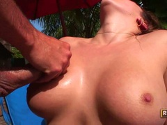Busty Vanessa Lee gets her meaty jugs sprayed with cum sauce after a hot fuck