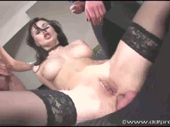 Filthy whore Nora Davis gang banged getting all holes filled with cock