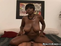 Thick and busty ebony Stacy Adams getting pink meat slammed with white cock