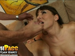 Cum thirsty Maria Bellucci gets her mouth messed up with man milk and loves it